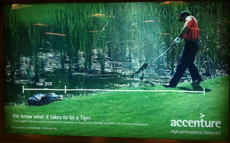 Tiger Woods ad with crocodile