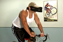 Man riding a real bike and using the As Seen On TV Hat