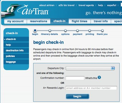 AirTran Check-in Site