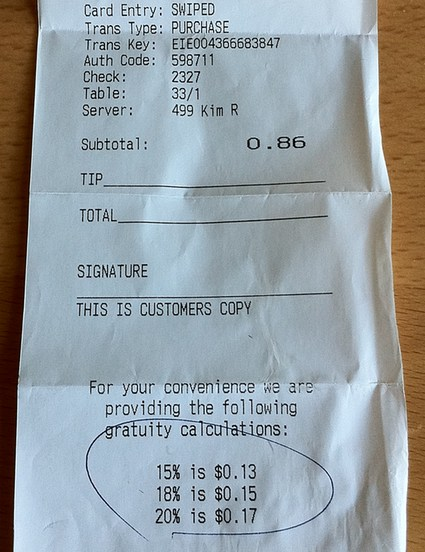 Receipt with ridiculous tip scale