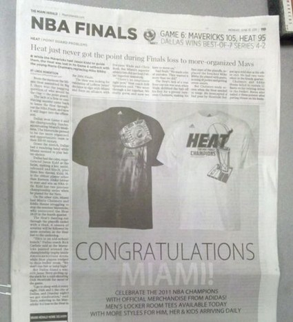 A Newspaper Ad Mistakingly Showing the Heat As The 2011 NBA Champs