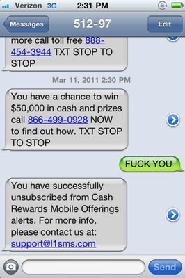 Text Spam Screenshot