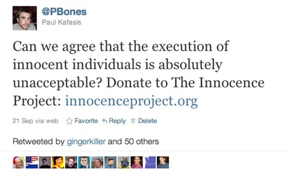 The Initial Tweet mentioning The Innocence Project
