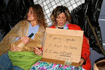 Law firm employees dressed as homeless