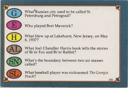 Trivial Pursuit Card Front - Question: What Russian city used to be called St. Petersburg and Petrograd?