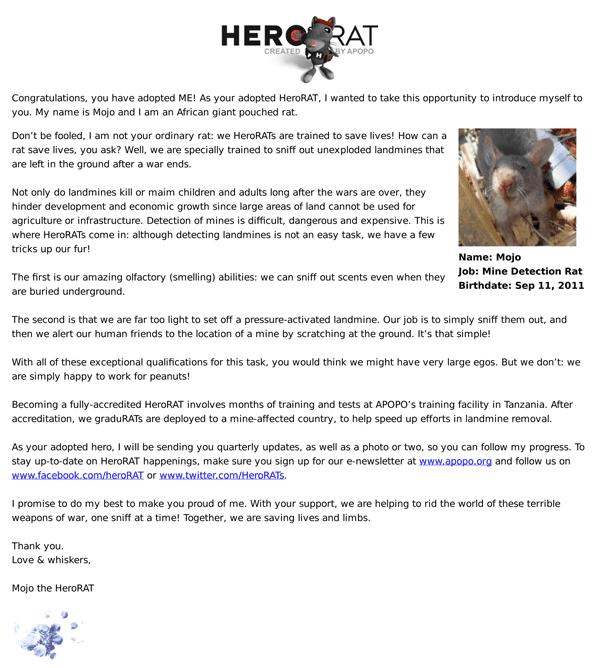 Mojo the rat's letter