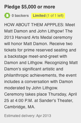 Pledge $5,000 or more to meet Matt Damon and John Lithgow at the 2013 Harvard Arts Medal ceremony