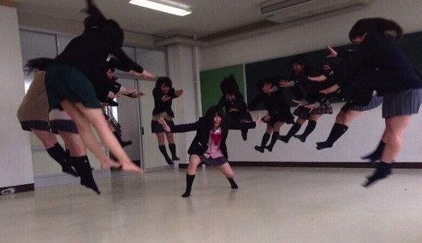 Japanese girls being hit by invisible energy attacks