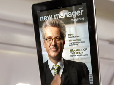 Picture of a fake publication called New Manager Magazine