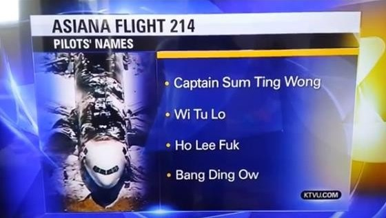 False Asiana Names