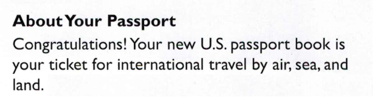 Your new U.S. Passport book is your ticket