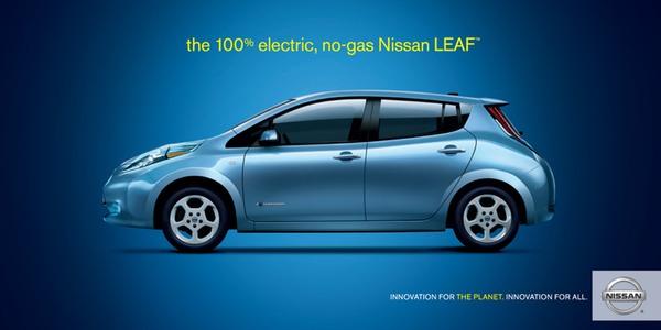 Nissan Leaf No-Gas Car Print Ad