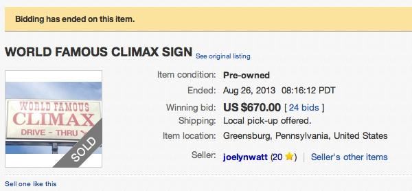 Climax Auction