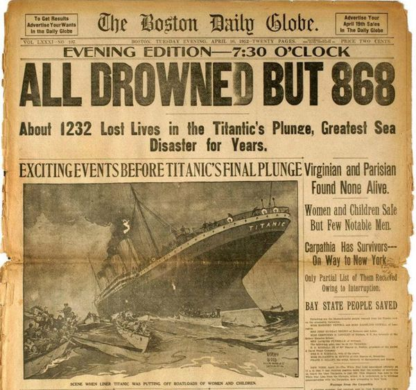 Titanic Headline - All But 868 Drowned