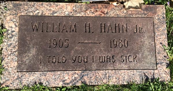 William H. Hahn, Jr. - I Told You I Was Sick