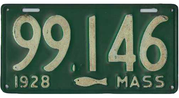 MA License Plate with Tiny Fish