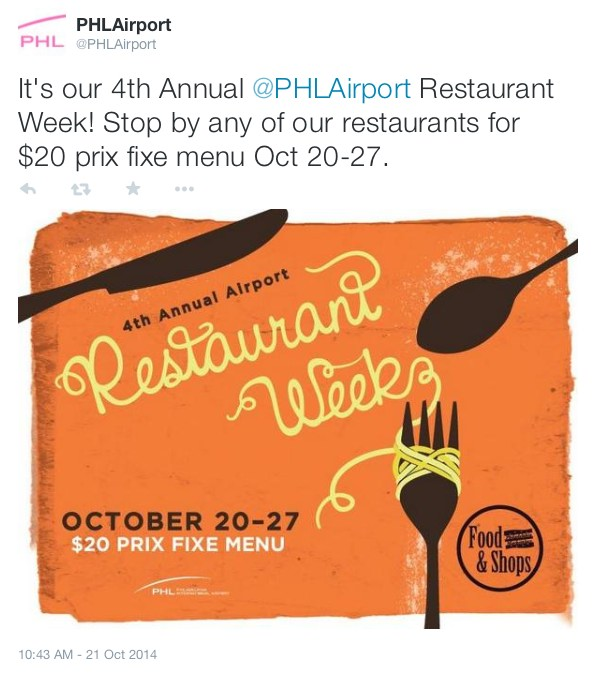It's our 4th Annual @PHLAirport Restaurant Week! Stop by any of our restaurants for $20 prix fixe menu Oct 20-27.