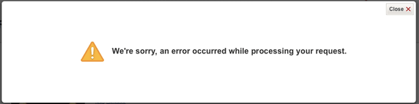 Netflix error with a comma, reading 'We're sorry, an error occurred while processing your request.'
