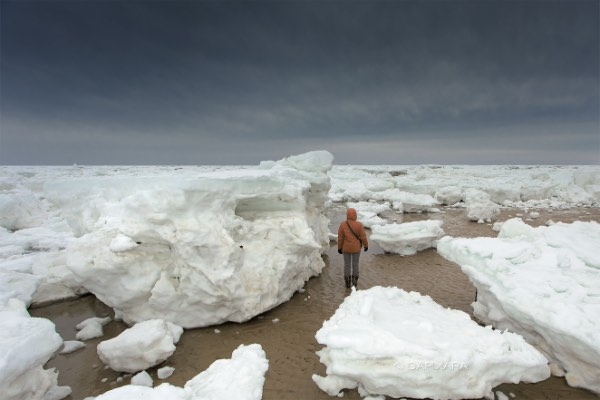 Massive Ice Ashore in Cape Cod