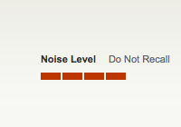 The old 'Do Not Recall' look for noise level on OpenTable.