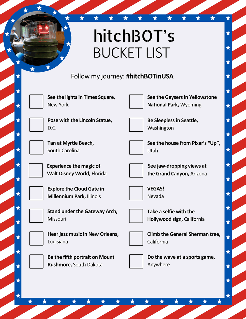 hitchBOT's Bucket List