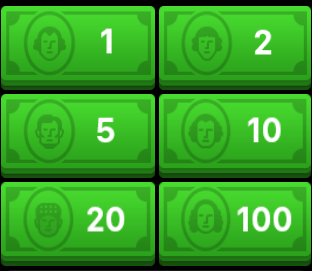 The Apple Watch Square Cash app's buttons
