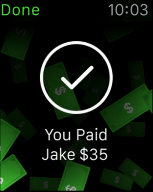 The Apple Watch Square Cash app