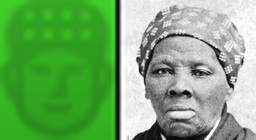 Enlarged Pixel Tubman and Photo Tubman, side by side