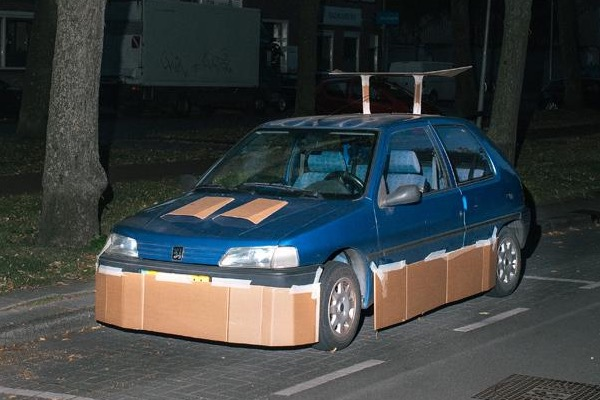 A cardboard pimped ride