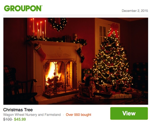 Christmas Tree deal on Groupon