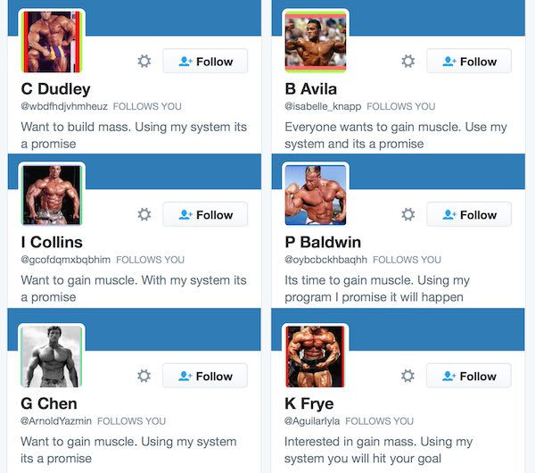 A sampling of the body builder bots