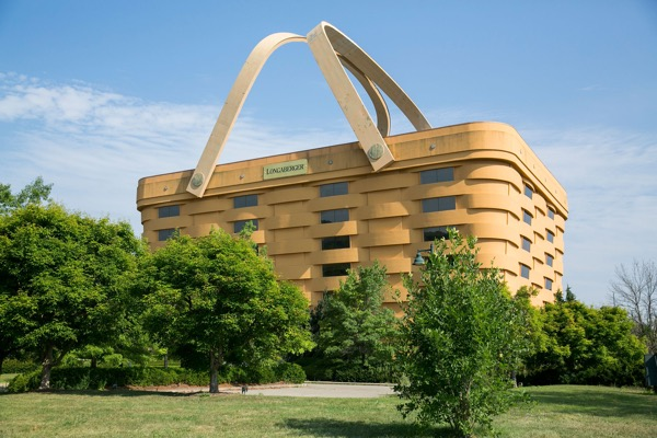 A ridiculous, picnic-basket shaped building