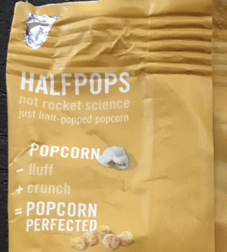 An equation reading 'Popcorn minus fluff plus crunch equals popcorn perfected'.