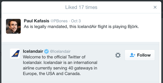Tweet reading: As is legally mandated, this IcelandAir flight is playing Björk.