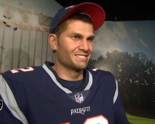 A wax man wearing a Tom Brady jersey