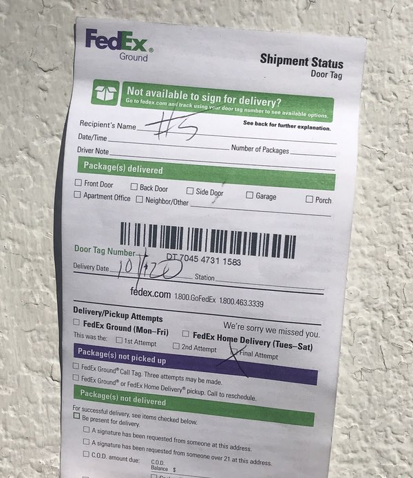 A FedEx Missed Deliver