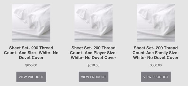 Overpriced bedding