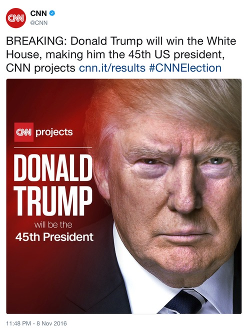BREAKING: Donald Trump will win the White House, making him the 45th US president, CNN projects
