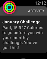 Apple Watch alert titled 'January Challege' and saying I have 15927 calories to go