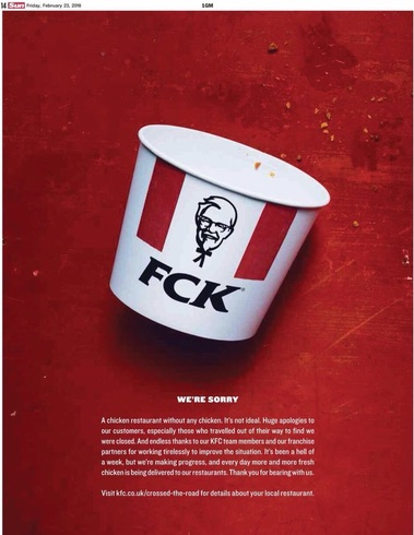 A KFC ad where the bucket reads F-C-K