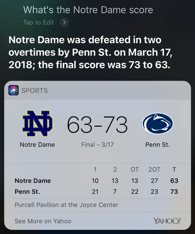 Screenshot showing a Notre Dame vs. Penn State game played on March 17th