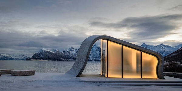 A gorgeously designed restroom in the fjords of Norway