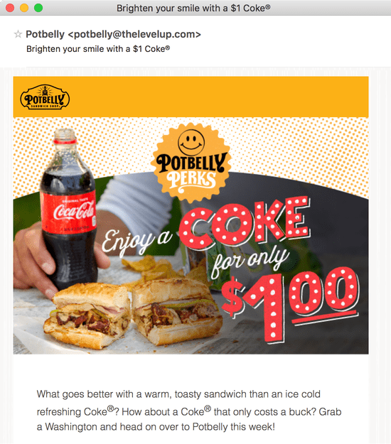 An email with the subject line 'Brighten your smile with a $1 Coke'.