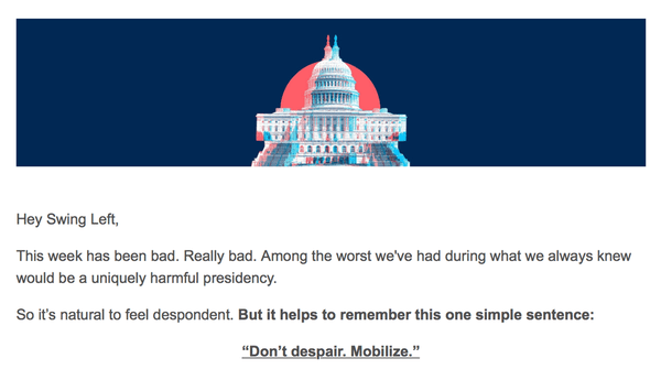 "An email with text reading t helps to remember this one simple sentence: ""Don't despair. Mobilize."""