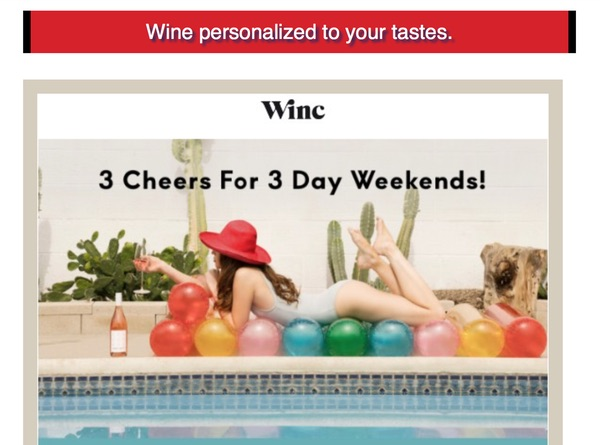 An add that says 'Wine personalized to your tastes', with a swimsuit-clad woman lounging on a pool float holding a glass of wine she can't even drink.