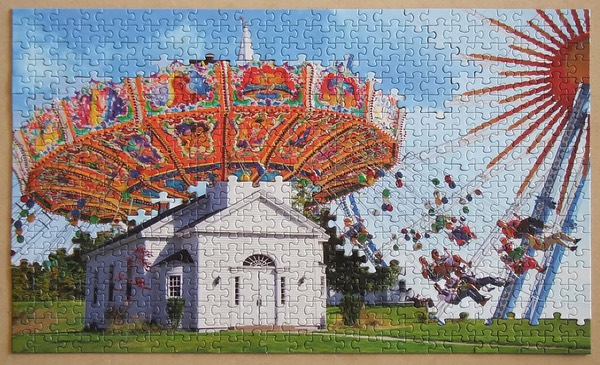A puzzle merging a churche and a merry-go-round