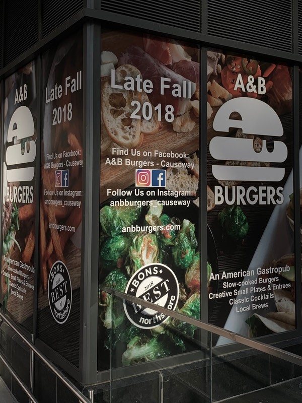 A+B Burgers Sign stating they'll be open Late Fall 2018