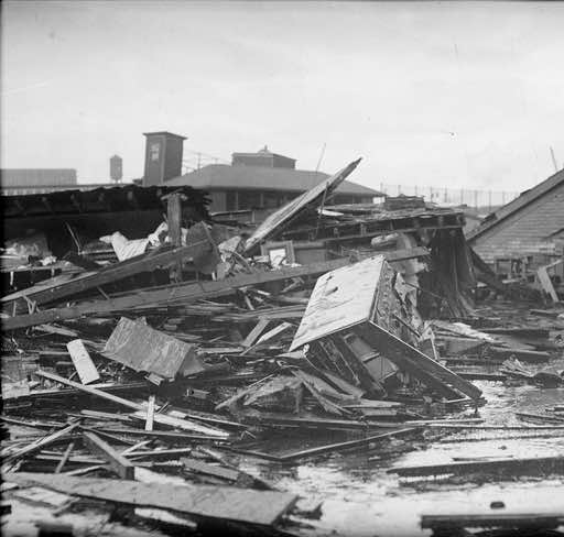 Buildings destroyed by the flood