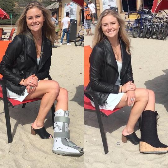 A flauntboot and a regular heel