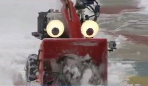 Remote-controlled snowblower with googly eyes